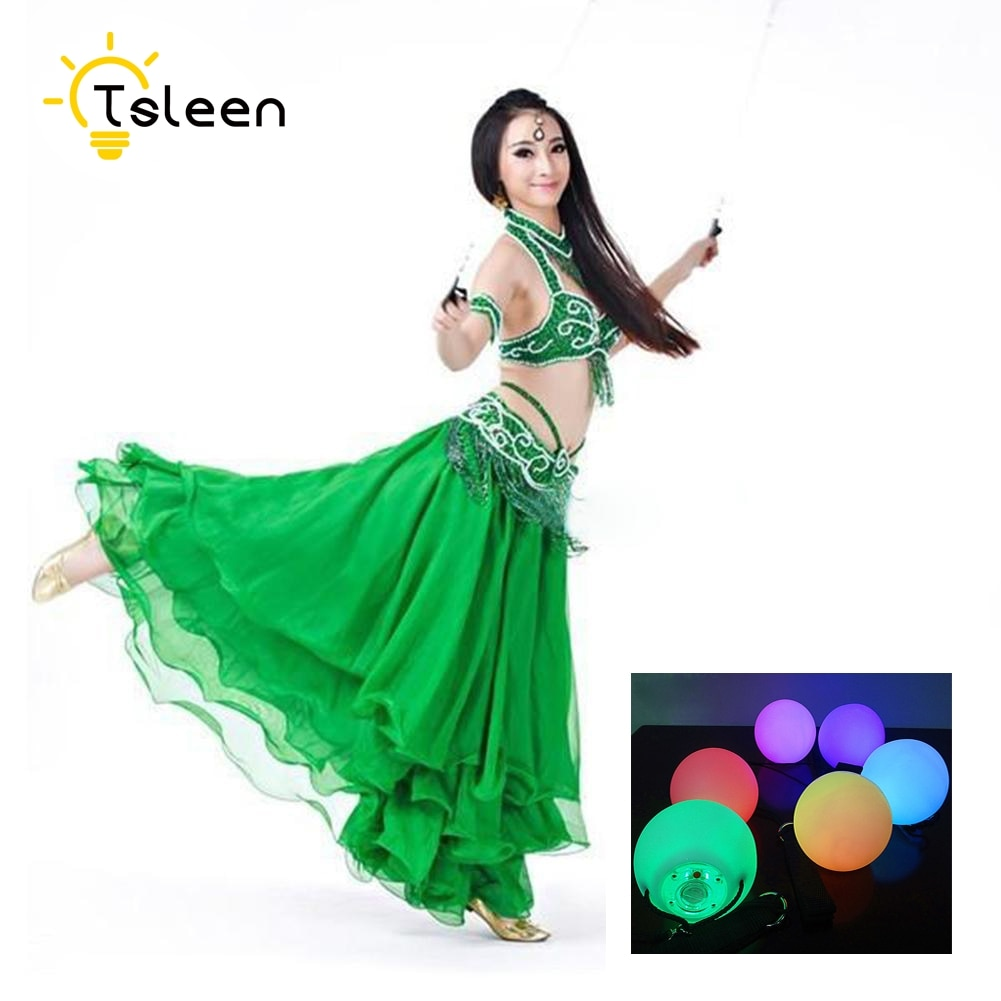 TSLEEN Free Shipping! 4 Balls+4 Ropes 2 Pair LED POI Thrown Balls For Professional Belly Dance Level Hand Props Color Change