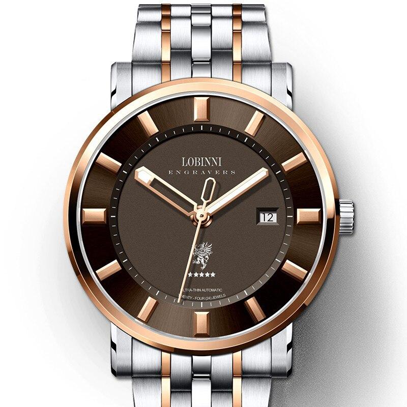 Relojes de marca suiza LOBINNI de lujo para hombres, reloj de zafiro japonés MIYOTA 9015, reloj mecánico automático para hombres, L5001-3