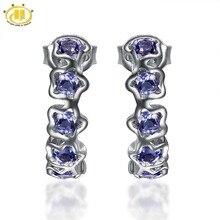 Bijoux Hutang pierre naturelle Iolite fleur boucles doreilles solide 925 argent Sterling pierres précieuses bijoux fins cadeau fête des mères des femmes