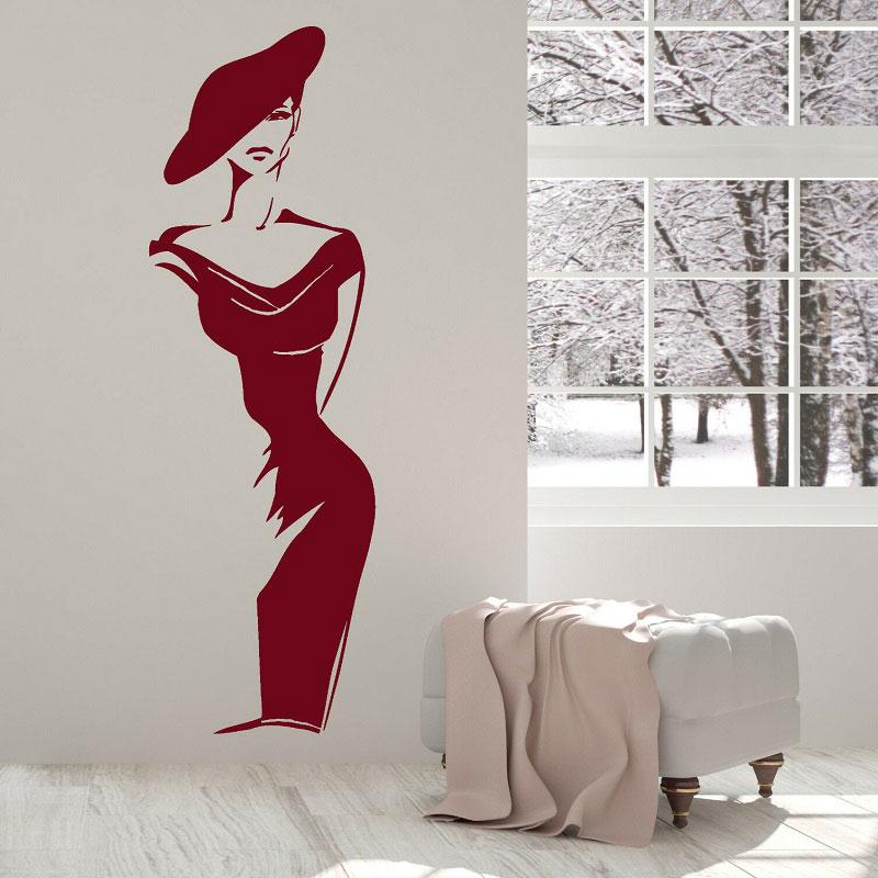 Mulher elegante da forma de vinil adesivos de parede loja de roupas decoração da janela pintura salão decoração do quarto casa pintura MV07