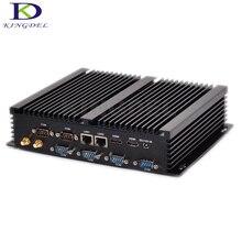 Kingdel Große förderung Neueste Lüfterlose Mini-industrie-pc Mini Rechen Barebone i3 4010U i5 4200U i7 4500U Dual LAN 6 RS232 Win 10