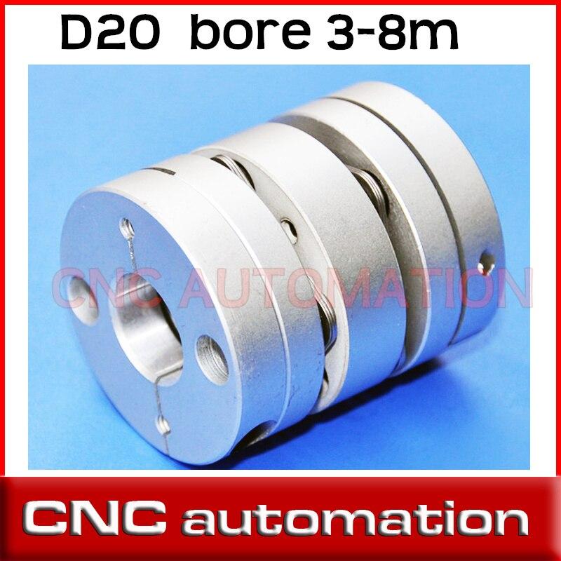 D20mm disco duplo eixo acoplador acoplamento de disco, 5mm, 6mm, 6.35mm, 8mm tamanho do eixo