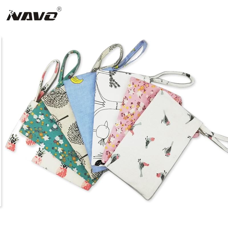 Fresh Cute Coin Bag Casual Clutch Coin Purse Wallets Cotton Linen Cloth Mobile Phone Bag Portable Small Pouch Bag