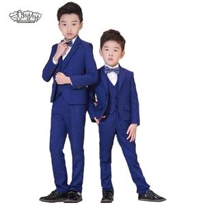 Boys Formal Wedding Suits Sets Kids Plaid Blazer vest pants shirts bowtie 5pcs Clothing Sets Children Party Performance Dress