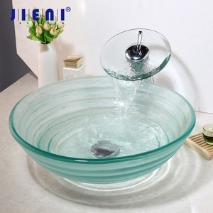 JIENI Round Translucent Tempered Glass Vessel Sink Bathroom Sink With Waterfall Chrome Polished Faucet And Water Drain