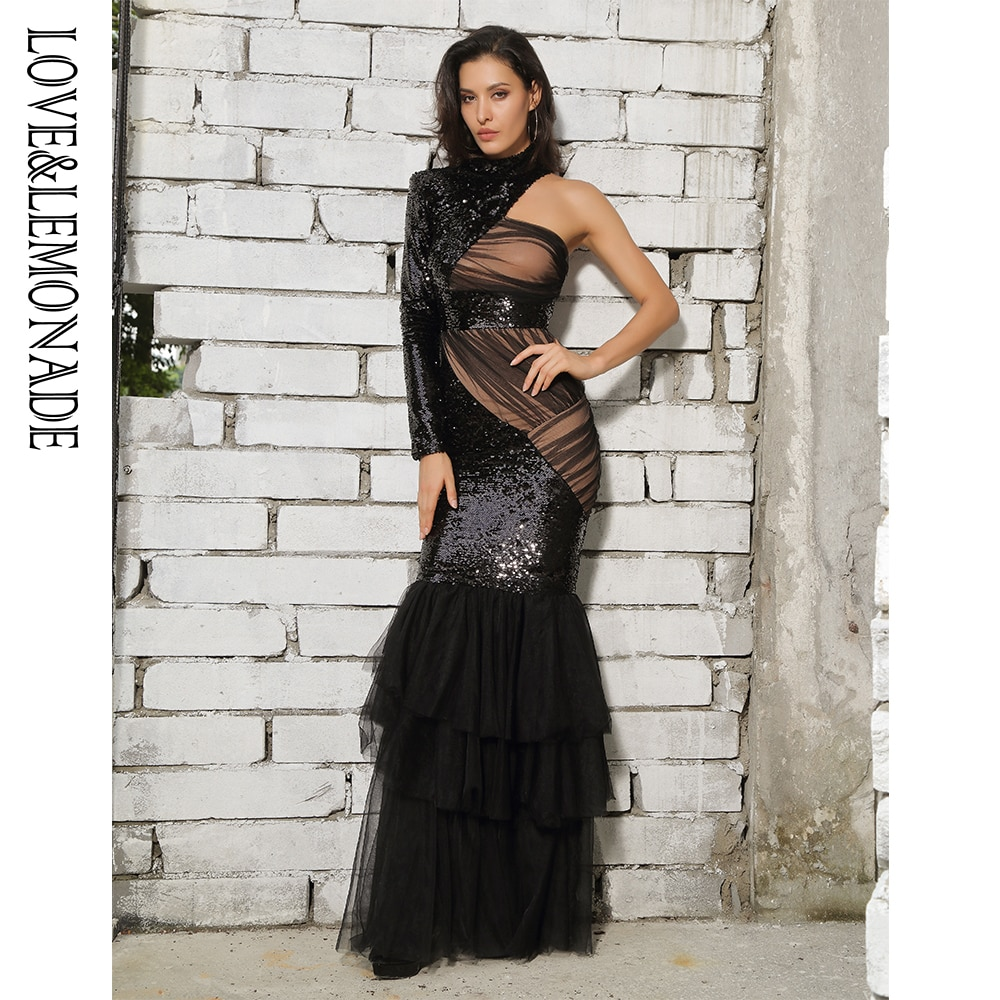 Amor & limonada preto corte malha costura fishtail forma lantejoulas vestido longo lm81485
