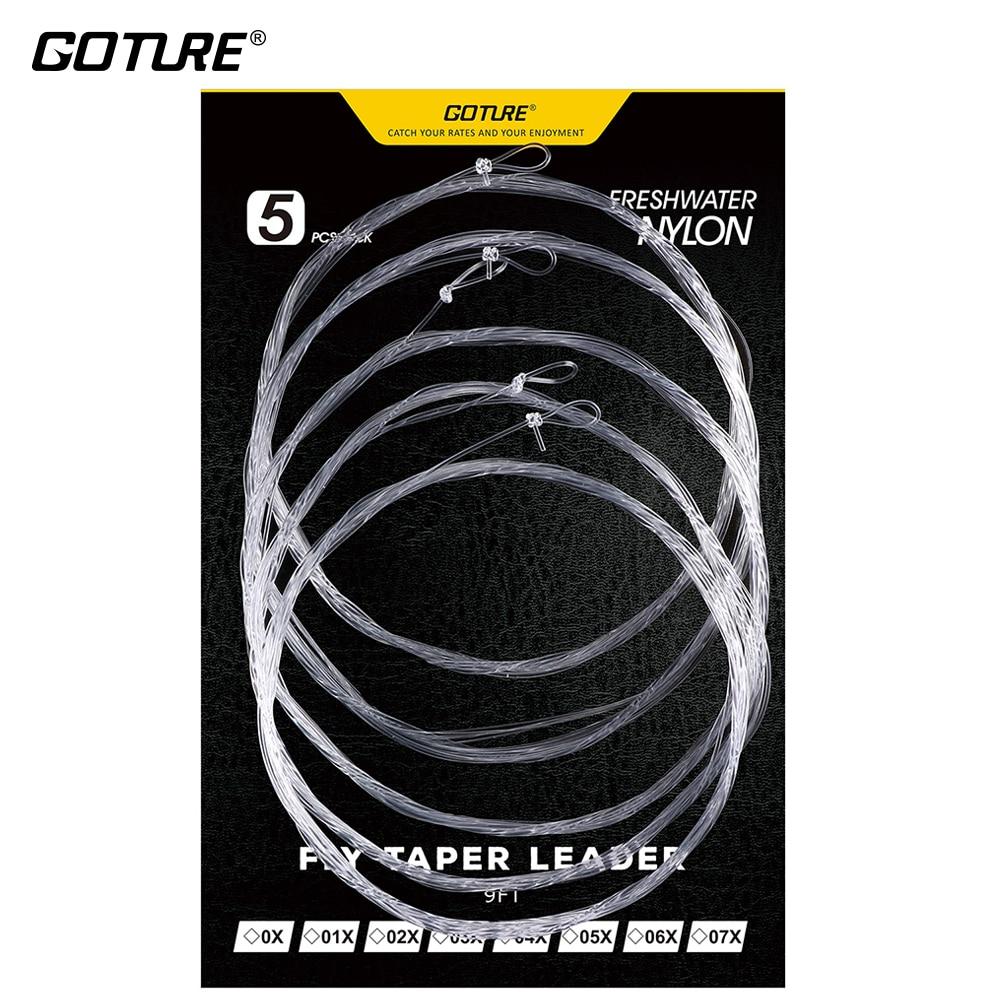 Goture 5 unids/bolsa 2,74 M/9FT Steelhead de agua dulce/Salmon Nylon mosca pesca cónica Leader Line tamaño 0X-7X 1,8lbs-16Lbs
