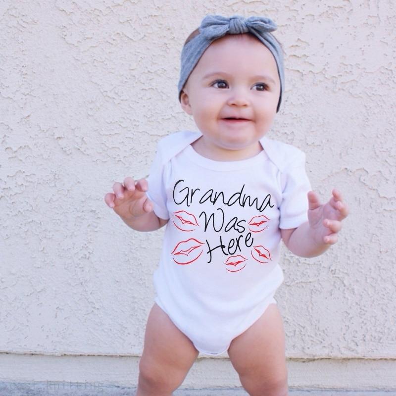 DERMSPE, recién nacido, bebé, niña, manga corta, letra impresa, abuela, fue aquí, foto de beso rojo, Romper, ropa de bebé mono