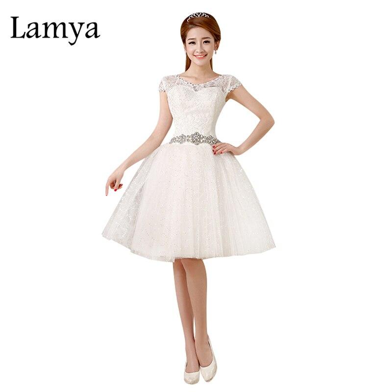 LAMYA-vestido De Novia corto, elegante, De encaje De cristal, Vintage, hasta la...
