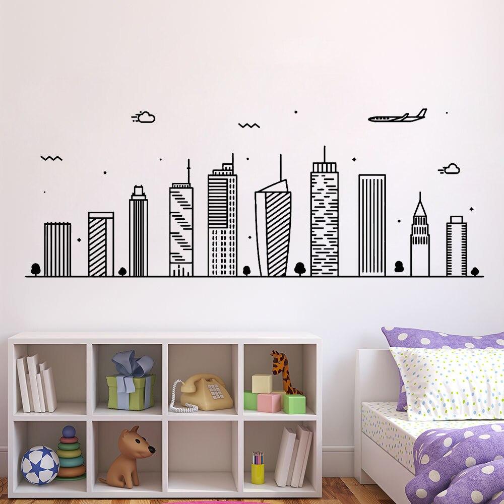 Dibujos Animados gran ciudad avión pared calcomanías niños habitación decoración PVC pegatinas sala de juegos decoración Mural removible papel tapiz A015