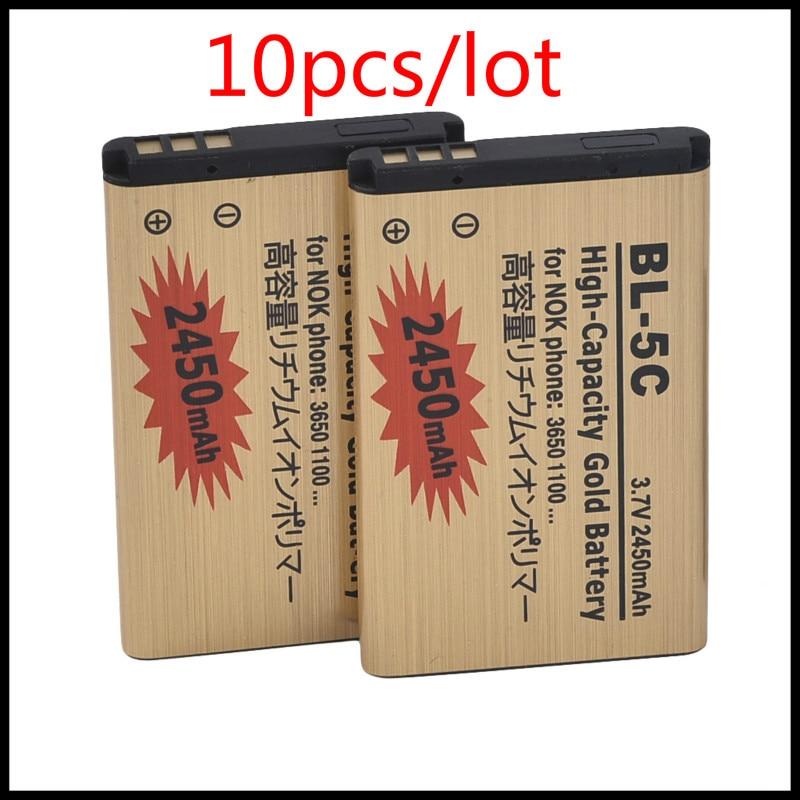 10 шт./лот литий-ионная аккумуляторная батарея BL-5C для Nokia 1000 1010 1100 1108 1110 1111 1112 1116 батарея 5C BL5C