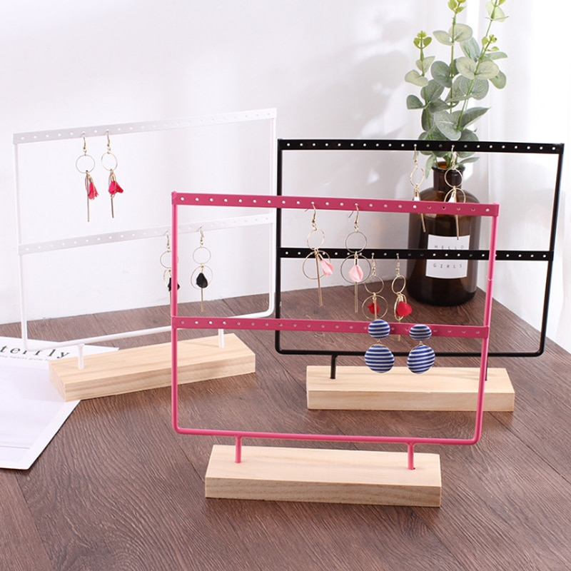 Mordoa 24/44 Holes Wood Earrings Organizer Jewelry Holder Necklace Bracelet Rack 2 Layers Jewelry Display Stand Jewelry Packing