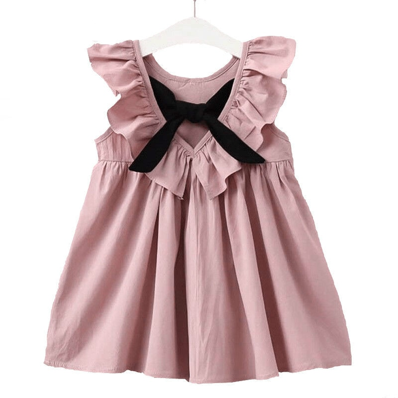 Gravata borboleta feminina de mangas voadoras, vestido elegante estilo moderno para mulheres, vestido de princesa para festa, trajes adoráveis para meninas, 2019