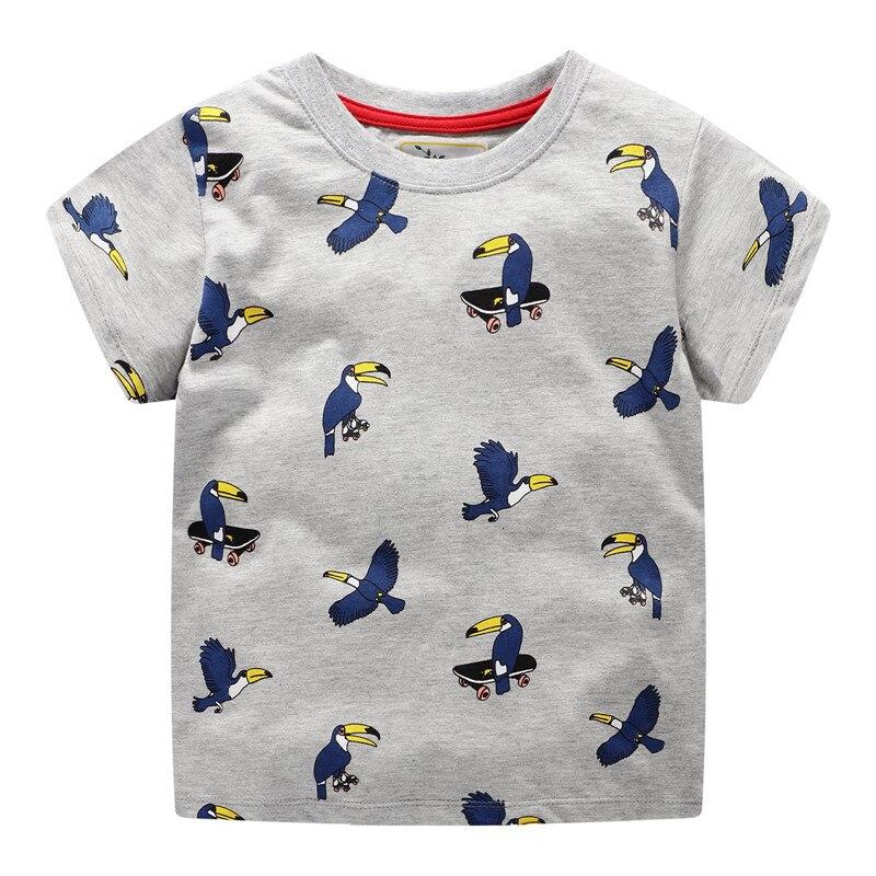 Футболки для маленьких мальчиков, топы, летняя хлопковая Футболка С Рисунком Птиц для мальчиков, одежда Детские футболки с персонажами из м...