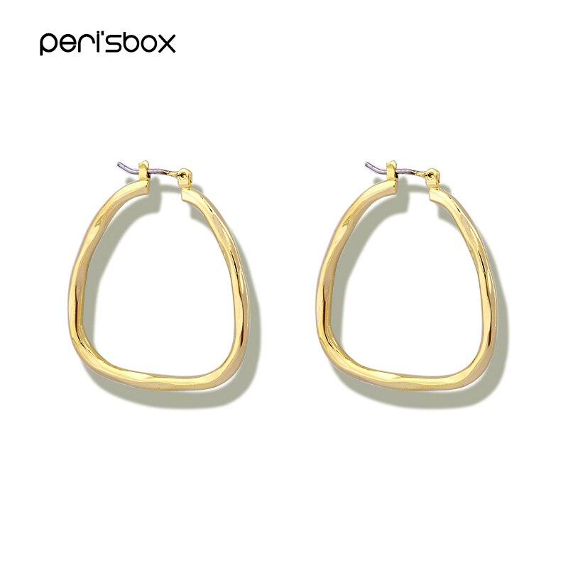 Pendientes de aro triangulares de Color dorado y plateado para mujer, pendientes de Metal modernos y minimalistas, aros geométricos simples