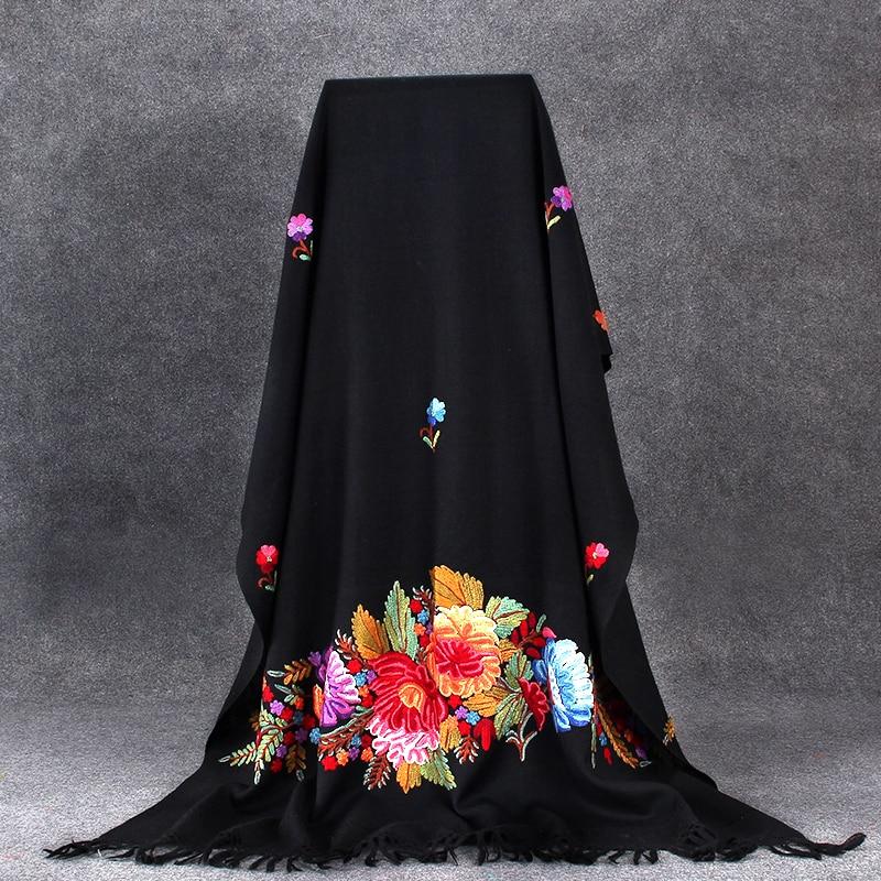 Women Black Floral Shawls Scarf Noble Winter Warm Cape India Handmade Embroidery Wrap Pashmina Wool Soft Mantilla Long 70x210cm