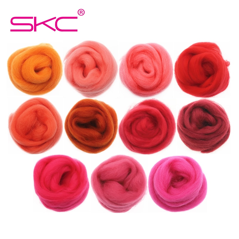 10g/50g/100g Red Series Wool Fibre Flower Animal Toy Wool Felting Handmade Spinning DIY Craft Materials Tool Felt Christmas