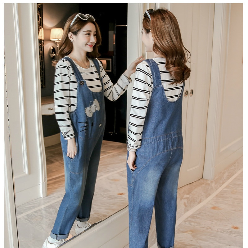 MODENGYUNMA Maternity Clothes Spring Autumn New Fashion Strap Pregnant Woman Pants Embroidered Loose Pregnancy Jeans Vestidos enlarge