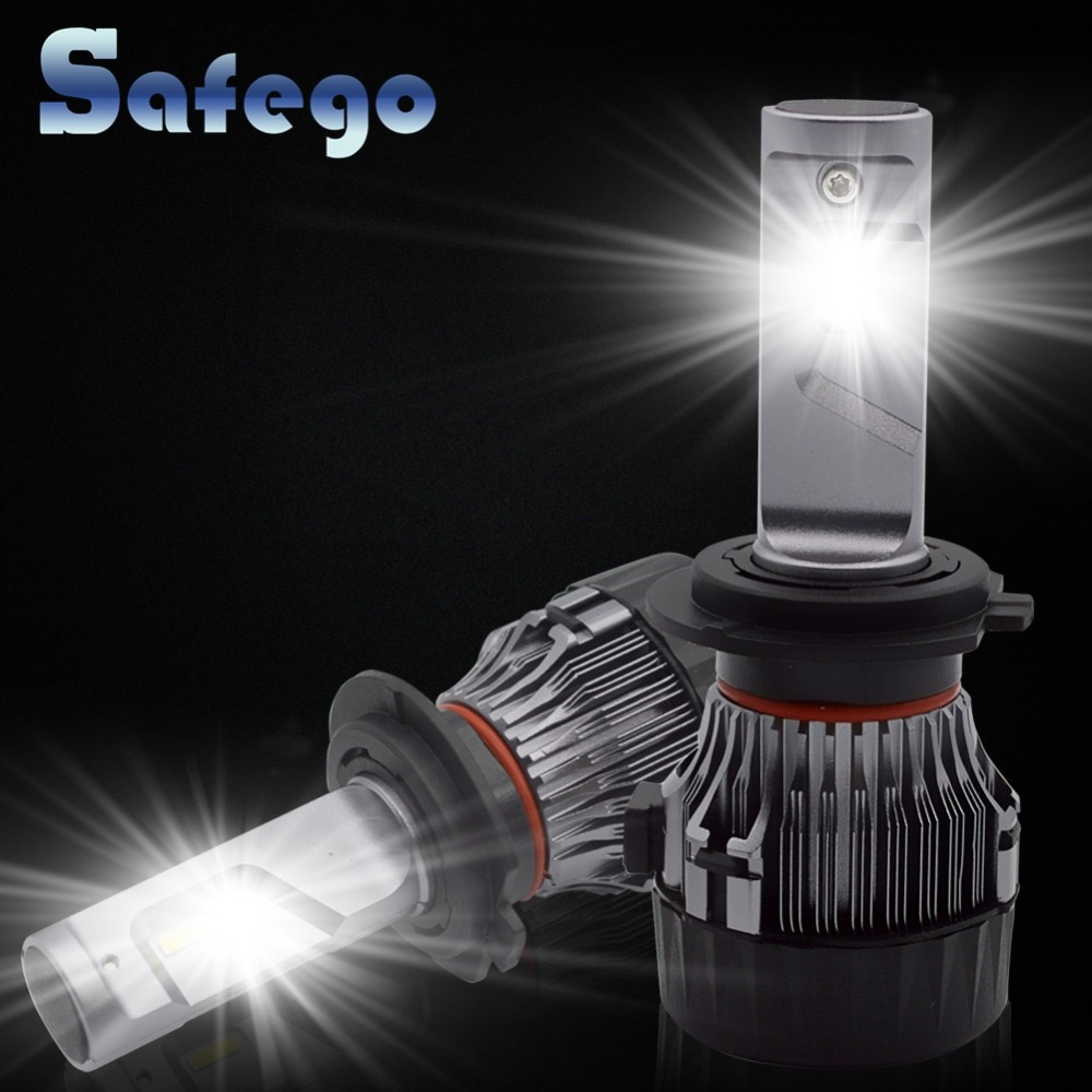H7 H11 Светодиодный комплект фар для автомобиля-Safego H4 Hi/Lo H8 H9 9005 9006 60 Вт 5000Lm высококачественный светодиодный супер яркий комплект для преобразо...