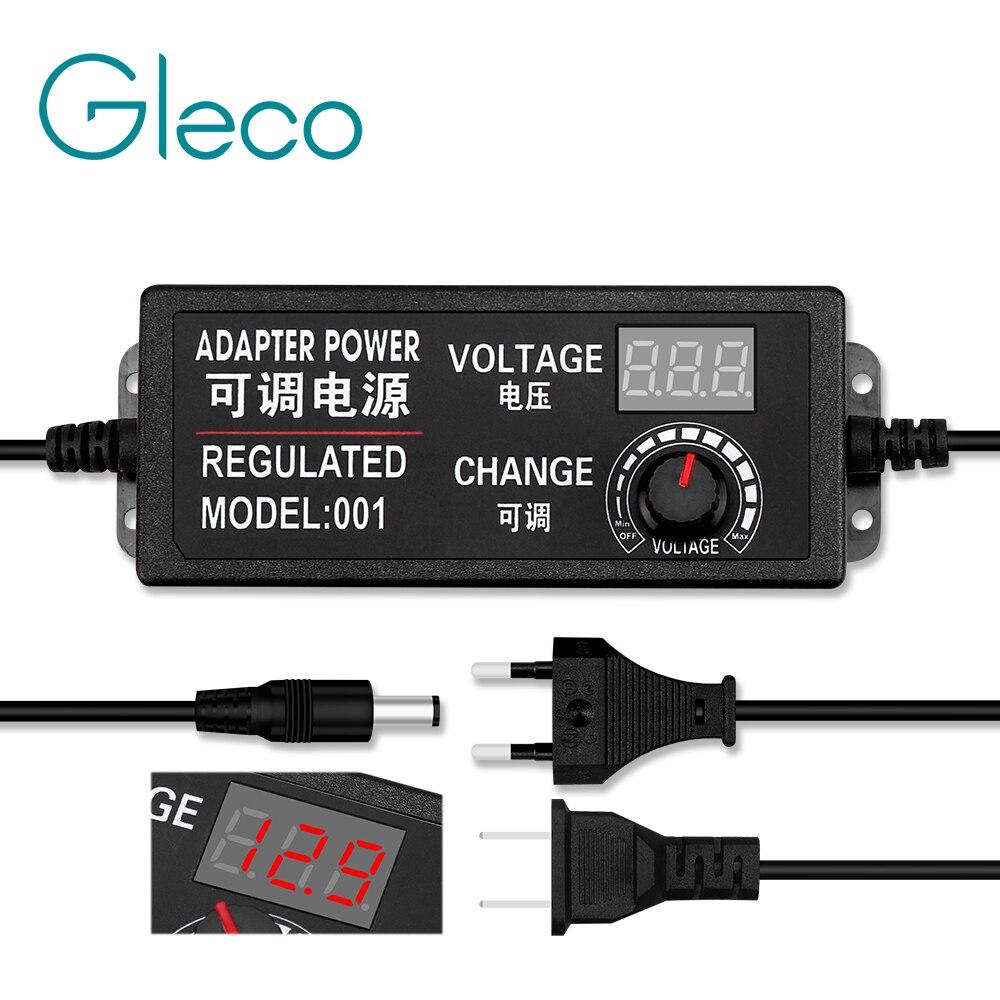Adaptador ajustable CA a CC 3-12V 3-24V 9-24V voltaje regulado con pantalla de visualización adaptador de fuente de alimentación Universal enchufe EU/US