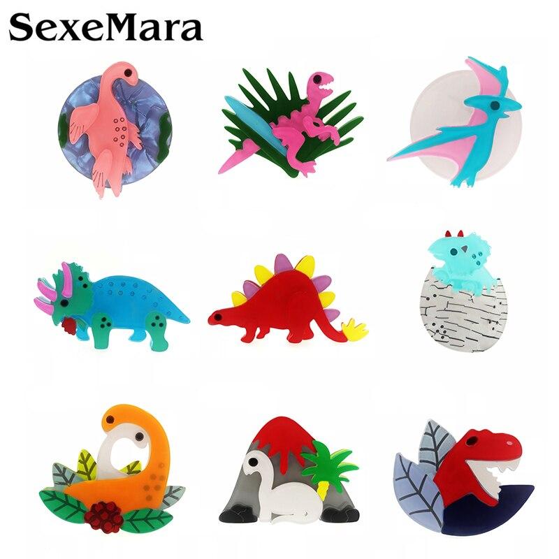 Broche de dinosaurio acrílico SexeMara para niños y niñas broche de animales de dibujos animados broche insignia bolsa de insignias joyería regalo broche