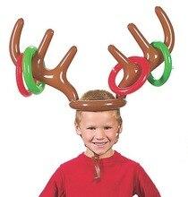 Chapeau gonflable en PVC pour renne de noël   Décoration de fête de noël, anneau de jeu amusant, faveurs de noël