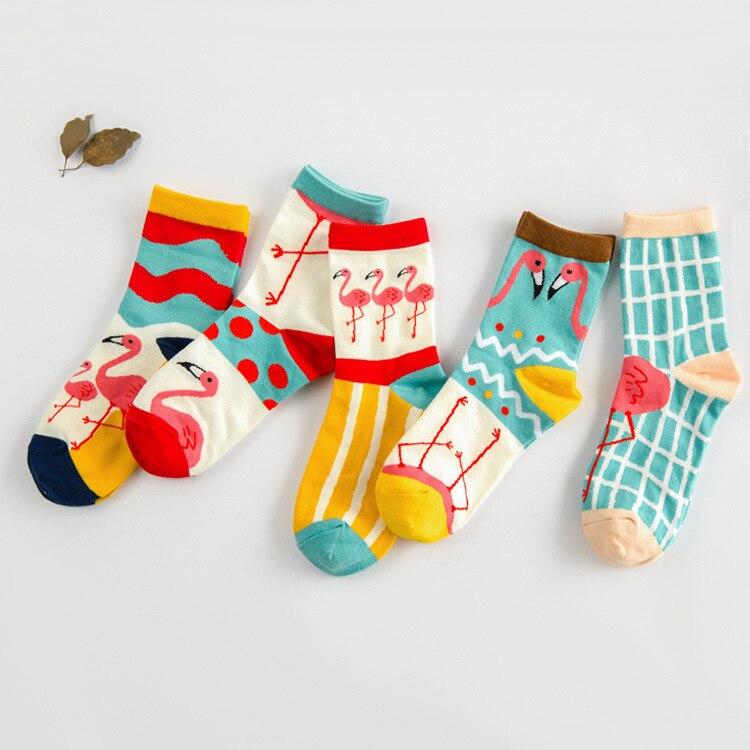 Calcetines divertidos a la moda con estampado de flamenco 3d, calcetines de algodón con dibujos para los tobillos, calcetines alegres con vestido de dibujos, 1 par = 2 piezas ms22