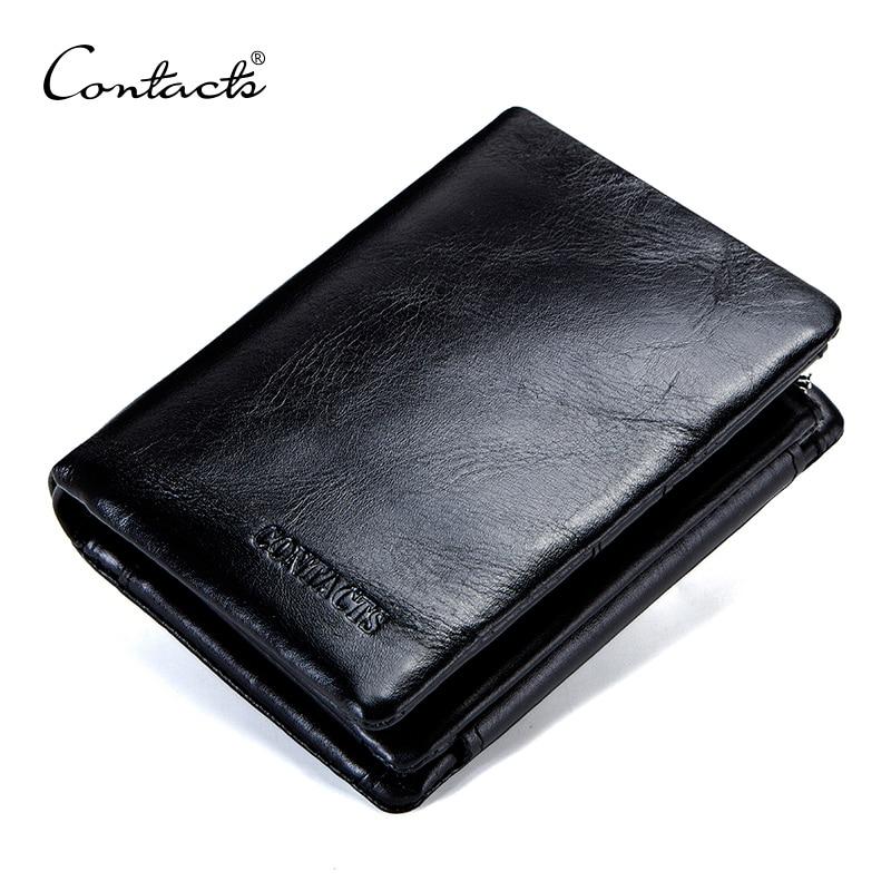 Contacts genuíno couro do couro dos homens carteira trifold carteiras design de moda marca bolsa id titular do cartão com zíper moeda bolso