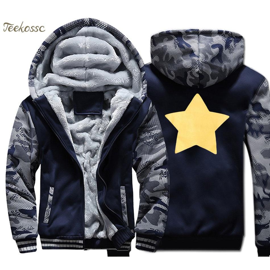 Sudadera con capucha Steven Universe Star Cookie Cat para hombre, sudadera divertida, abrigo de invierno grueso de lana, chaqueta de camuflaje, ropa de calle de estrella amarilla