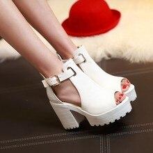 Big Size Summer Sandals Women 2017 Platform Female Thick Heel High Heels Peep Toe Sandals Shoes Women Sandalias Plataforma 9933