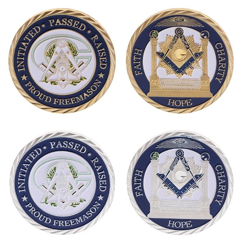Moneda conmemorativa masones de plata dorada fe regalos artísticos de coleccionismo Souvenir