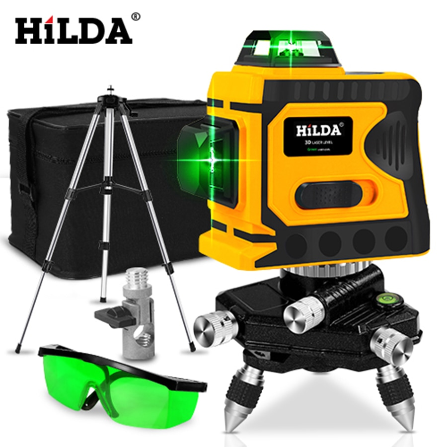 HILDA 360 Laser Level 12 Lines 3D Level Self-Leveling Horizontal And Vertical Cross Super Powerful Green Laser Level