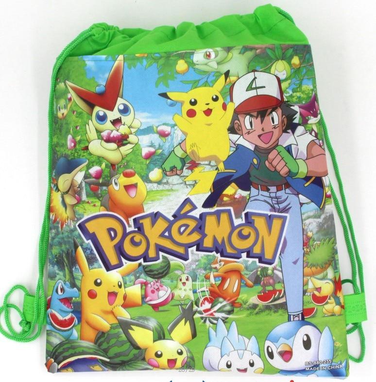 6Pcs Pokemon Haunter Cartoon Kids Drawstring Backpack Shopping School Traveling Party Bags Birthday Gifts