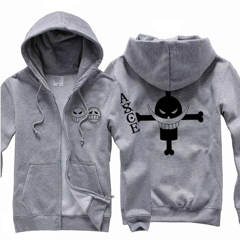 New One Piece Portgas D Ace cosplay fleece sweatshirt Edward Newgate hoodie coat Free shipping