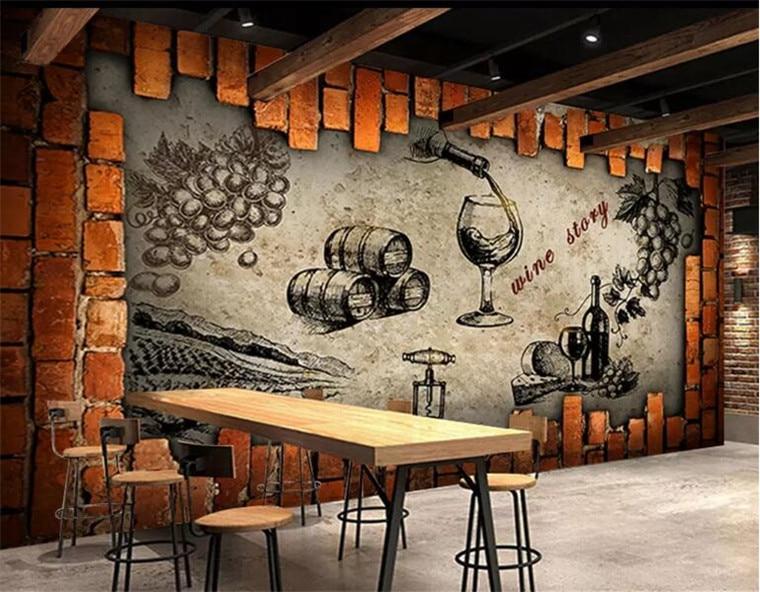 Retro Wein Lagerhaus Keller Manor Wein Haus Wandbild Maß Große und Medium Wandbild Seide Tapete papel de parede