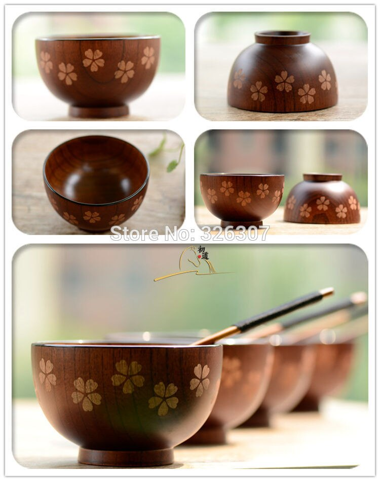 Tazón de té de alta calidad, estilo japonés, original, de madera, para niños, arco iris