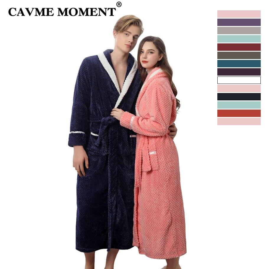 CAVME 2021 Winter Long Flannel Bathrobe LETTER CUSTOM Bride Kimono Robe for Lovers Night Dressing Gown Plus Size Sleepwear