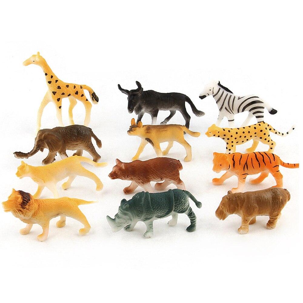 12 unidades de juguetes de plástico surtidos para niños, animales salvajes, jungla, Zoo, figura