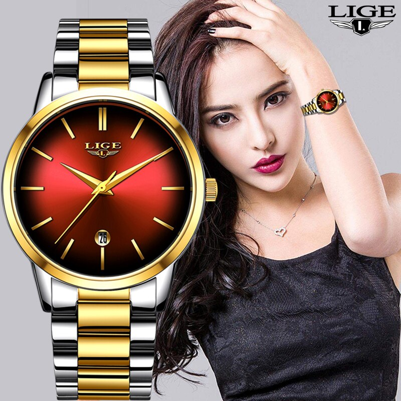 LIGE New Womens Business Quartz Watch Ladies Brand Top Luxury Ladies Watch Small Dial Thin Section Girl Clock Relogio Feminino enlarge