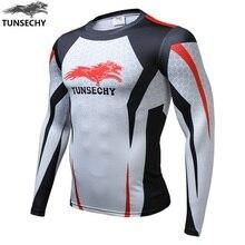 TUNSECHY marque impression numérique T-shirt chaud nouveau hiver loup homme compression à séchage rapide à manches longues col rond T-shirt