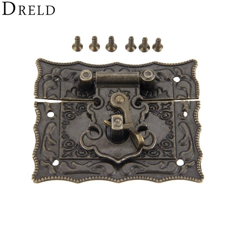 DRELD, 51x43mm, cierres de pestillo de caja antigua, hebilla decorativa, joyería, caja de regalo de madera, cerrojo, gancho con tornillos, aleación de bronce Vintage