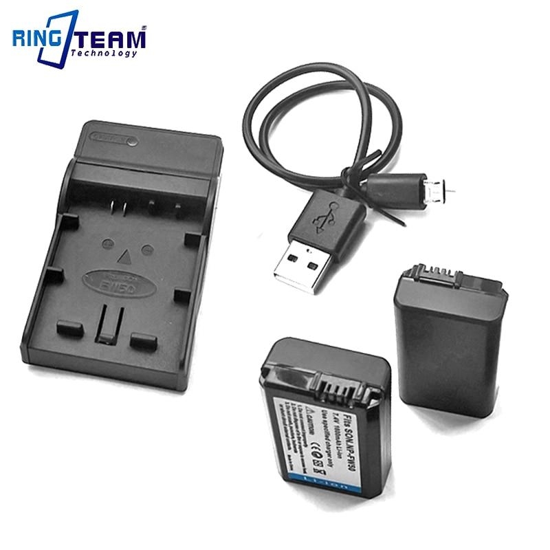 (3 en 1) 2 baterías NPFW50 NP-FW50 y cargador USB 1x para cámaras Sony Alpha NEX y SLT A3000 A3500 A5000 A5100 A6000 DSC-RX10.