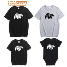 Pamuk anne baba T-shirt yenidoğan bebek kız erkek giysileri Tops Bodysuit sevimli ayı kıyafetler aile eşleştirme kıyafetler yaz giyim