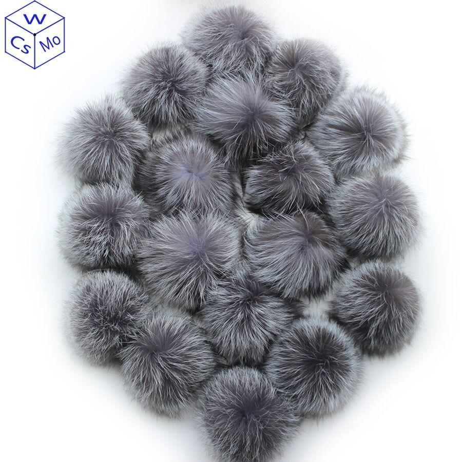 10 pcs/lot DIY 15cm Soft And Fluffy Silver fox Fur Pom For keychains Knitted Scarf Beanie Cap Hats Genuine Fox fur Pompom