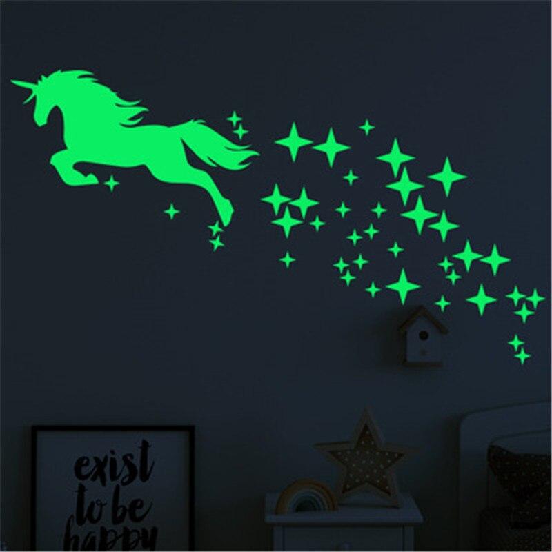Unicórnio luminoso adesivos de parede para sala de crianças decoração da sua casa quarto do bebê brilho no escuro estrelas adesivos de parede teto decoração da sua casa
