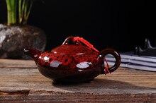 Théière traditionnelle chinoise en glaçure à four   Service de Service à thé au Design élégant, théière rouge de chine, cadeaux créatifs