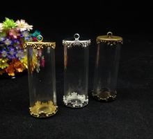 3 шт. 40*15 одна сторона мм, открытый трубчатый стеклянный глобус с 15 мм поддоном для цветов, стеклянные бутылки кувшины, стеклянный подвес, diy подвесное ожерелье