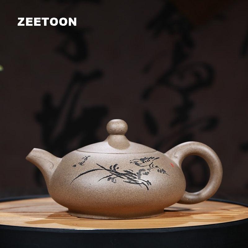 270cc auténtico Yixing tetera flor pájaro de olla de Salud chino tetera de arcilla púrpura té hervidor de té Zisha casa Decoración