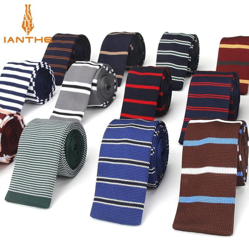 Brand New Fashion Vintage Striped Neck Tie Wedding Knitted Ties for Men Skinny Tie Man Gravata Narrow Slim Neckties Corbatas
