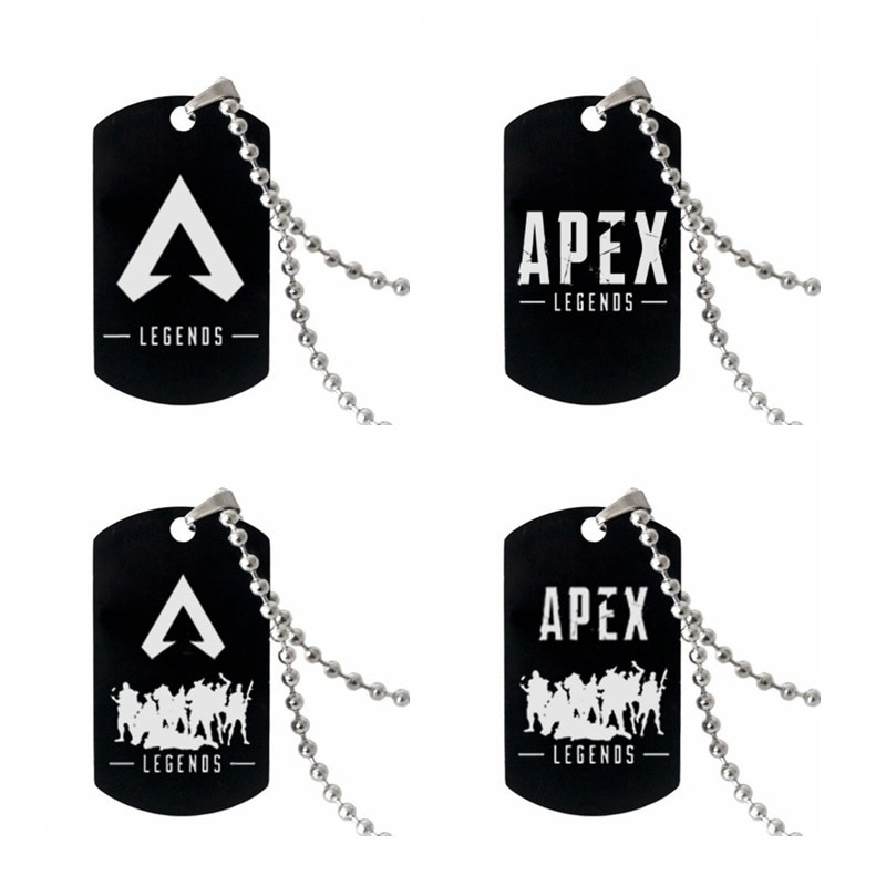 Hot Game APEX Legends Engraved Dog Tags Pendant Necklaces Men Jewelry Gifts Stainless Steel Long Chain Military Army